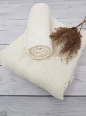 Вязаный плед Косы, в молочной расцветке