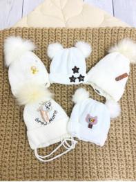 Шапка Зима для новорожденного в ассортименте ( цвет белый)
