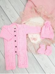 Вязаный комплект 0-3 месяцев, цвет розовый