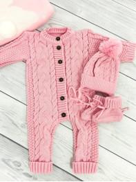 Вязаный комплект 0-3 месяцев, цвет розовый  ( без трикотажного подклада)