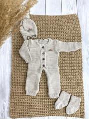 """Вязаный комплект  """"Петелька """" для новорожденного, цвет бежевый"""