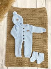 """Вязаный комплект  """"Петелька """" для новорожденного, цвет голубой"""