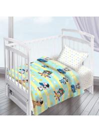 Комплект постельного белья ( простынь на резинке) Енотики мальчик