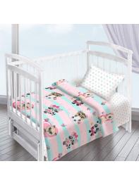 Комплект постельного белья ( простынь на резинке) Енотики девочка