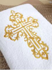 Полотенце крестильное, махра 70*140 см , вышивка Крестик