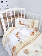 Комплект постельного белья ( простынь на резинке) Поплин Ангелочек беж