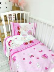 Комплект постельного белья ( простынь на резинке) Поплин Ангелочек роз