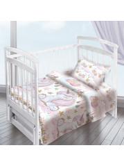 Комплект постельного белья ( простынь на резинке)  Единорожка