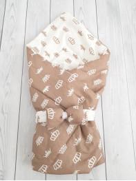 """Конверт-одеяло Малыш """"Короны в коричневом цвете"""""""