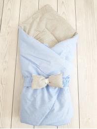 """Конверт-одеяло Малыш """"Голубой горошек+полоска"""""""