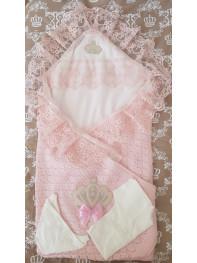 Конверт на выписку Корона, лето Цвет : розовый