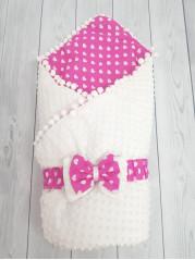 Конверт-одеяло Горошинки Лето , цвет: белый велюр+сердечки