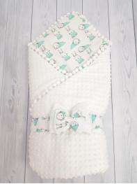 Конверт-одеяло Горошинки Лето , цвет: белый велюр+зайчики