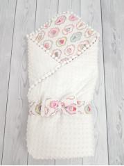 Конверт-одеяло Горошинки Лето , цвет: белый велюр+пироженки