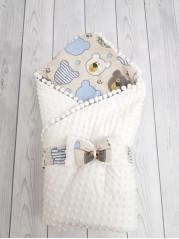 Конверт-одеяло Горошинки Лето , цвет: белый велюр+мордочки мальчик