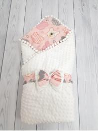 Конверт-одеяло Горошинки Лето , цвет: белый велюр+мордочки девочка