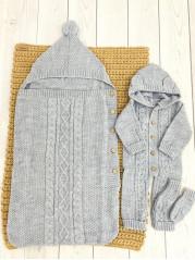 Комплект Помпошка : конверт, комбинезон, носочки. Цвет : Серый