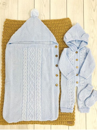 Комплект Помпошка : конверт, комбинезон, носочки. Цвет : Голубой