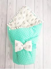 Конверт-одеяло Горошинки , цвет: мятный велюр + короны