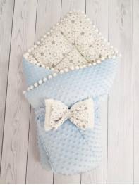 Конверт-одеяло Горошинки , цвет: голубой велюр + звезда