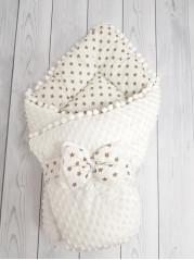 Конверт-одеяло Горошинки , цвет: белый велюр + звездочки, мод 7