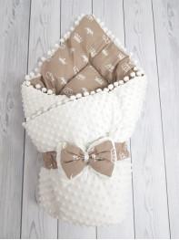 Конверт-одеяло Горошинки , цвет: белый велюр + коричневые короны, мод 8