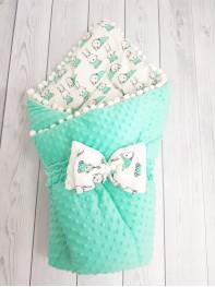 Конверт-одеяло Горошинки , цвет: мятный велюр + зайчики, мод 9