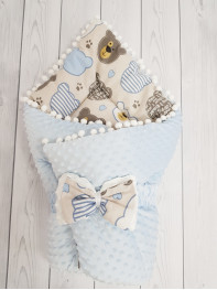 Конверт-одеяло Горошинки , цвет: голубой велюр+мордочки