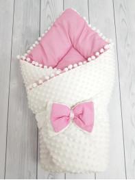 Конверт-одеяло Горошинки , цвет: белый велюр + розовое пшено мод 1