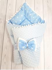 Конверт-одеяло Горошинки , цвет: голубой велюр+голубая звезда