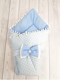 Конверт-одеяло Горошинки , цвет: голубой велюр+голубое пшено
