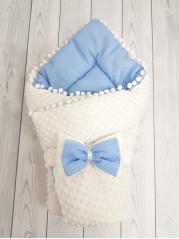 Конверт-одеяло Горошинки , цвет: белый велюр+голубое пшено, мод 4