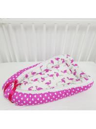 """Кокон гнездышко для новорожденного """"Розовый Фламинго"""""""