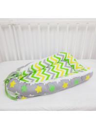 """Кокон гнездышко для новорожденного """"Желтая+Зеленая Звездочка"""""""