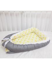 """Кокон гнездышко для новорожденного """"Серый горошек+желтая звезда"""""""