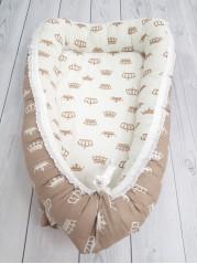 """Кокон гнездышко для новорожденного """"Коричневые короны"""" мод.18"""