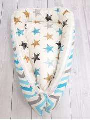 "Кокон гнездышко для новорожденного ""Голубой зигзаг+звезды"" мод 2"