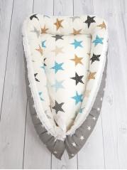 """Кокон гнездышко для новорожденного """"Серая звезда+звезды"""""""