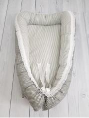 """Кокон гнездышко для новорожденного """"Серый горошек+полоска"""" мод.21"""