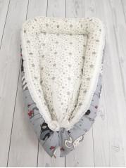 """Кокон гнездышко для новорожденного """"Кошки+звезды"""""""