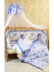 Набор в кроватку 7 предметов серия Ангелочек, голубой цвет