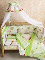 """Набор в кроватку """"7 предметов серия Ангелочек"""",  цвет зеленый"""