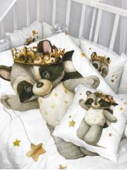 """Набор в кроватку из подушечек """" Енотик в коронах Люкс"""""""