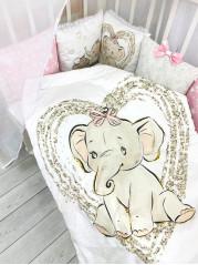 """Набор в кроватку """"Слоники на розовом"""""""