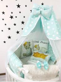 """Борт  в кроватку """"Little Princess Мишка в мятном"""""""