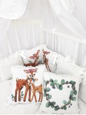 Набор в кроватку Бемби Люкс в белом дамаске