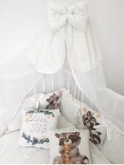Набор в кроватку Веселый Енотик  Люкс в белом дамаске