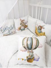Набор в кроватку Маленький Летчик ( Little Pilot)  в белом дамаске