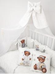 Набор в кроватку Мишка в пижаме,  в белом дамаске
