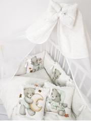 Набор в кроватку Сладкие Мишки  в белом дамаске